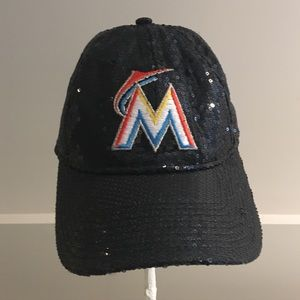 PINK FLORIDA MIAMI MARLINS black SEQUIN HAT